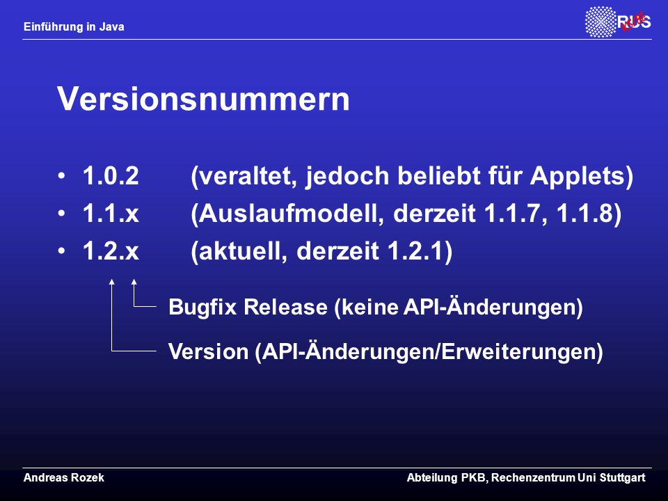 Versionsnummern 1.0.2 (veraltet, jedoch beliebt für Applets)