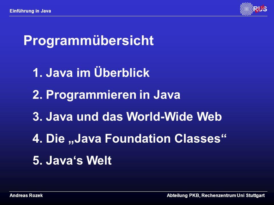 Programmübersicht 1. Java im Überblick 2. Programmieren in Java