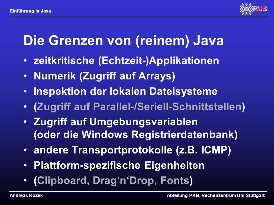 Die Grenzen von (reinem) Java