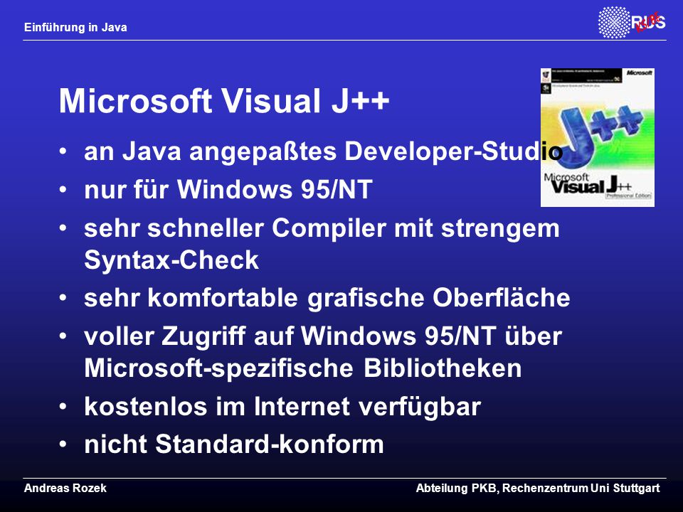 Microsoft Visual J++ an Java angepaßtes Developer-Studio