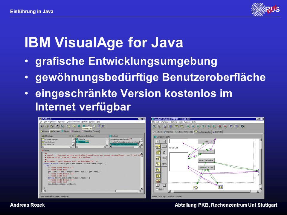 IBM VisualAge for Java grafische Entwicklungsumgebung
