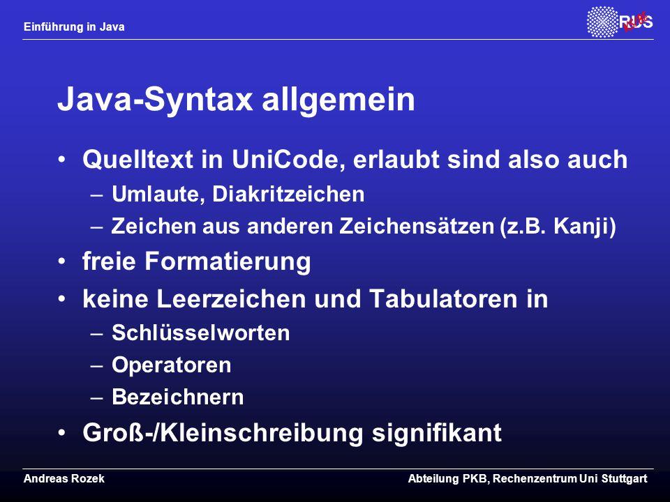 Java-Syntax allgemein