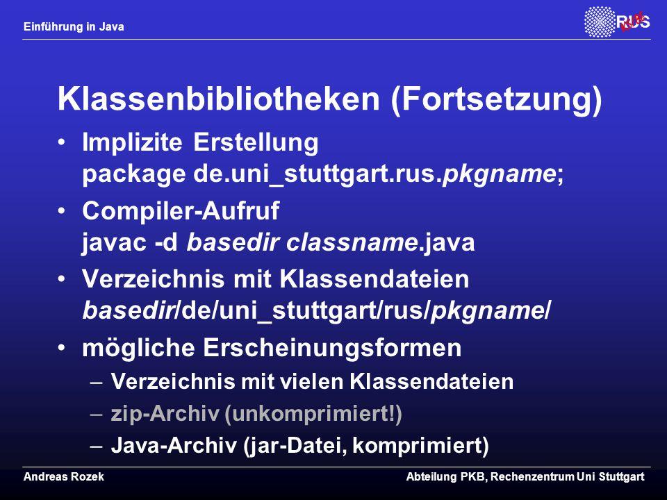 Klassenbibliotheken (Fortsetzung)