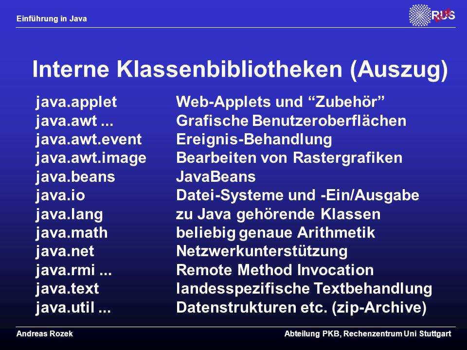 Interne Klassenbibliotheken (Auszug)