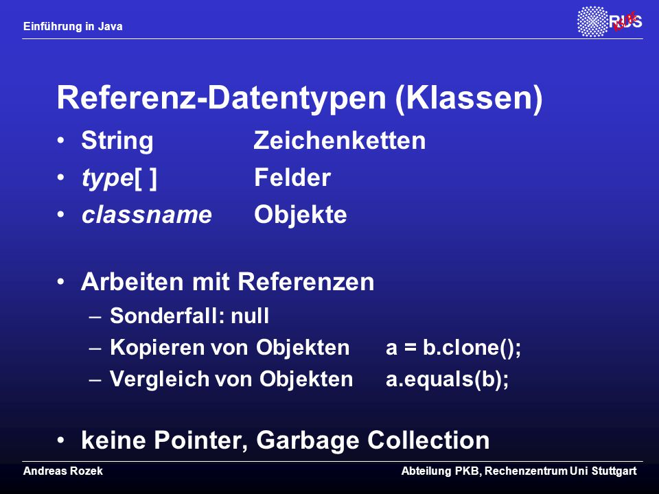 Referenz-Datentypen (Klassen)