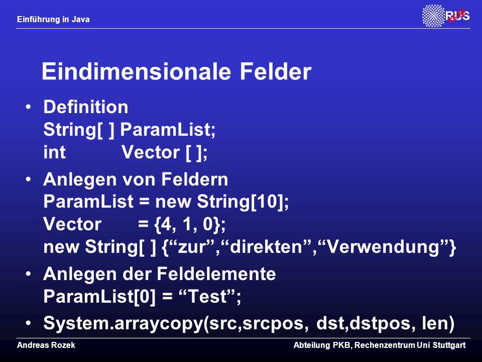Eindimensionale Felder