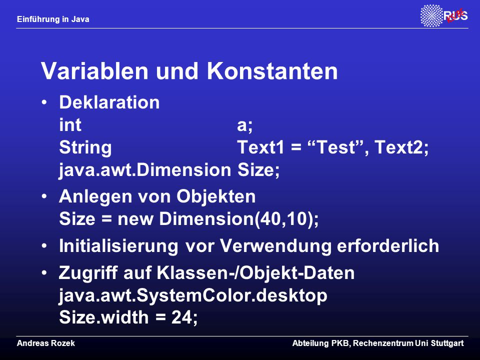 Variablen und Konstanten