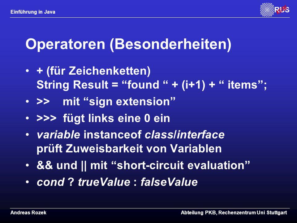 Operatoren (Besonderheiten)