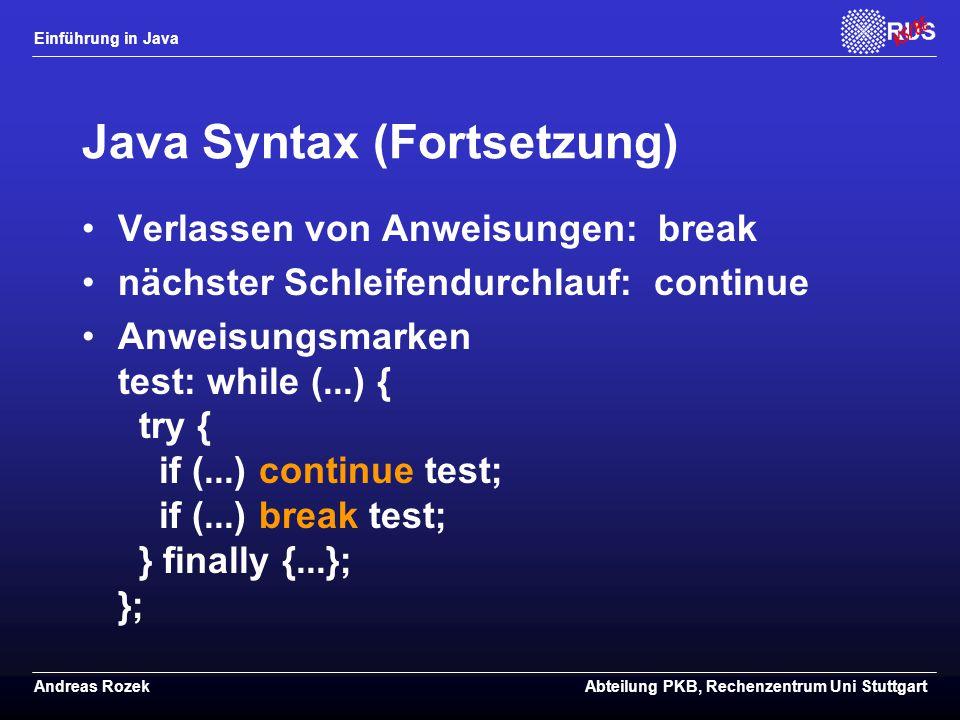 Java Syntax (Fortsetzung)
