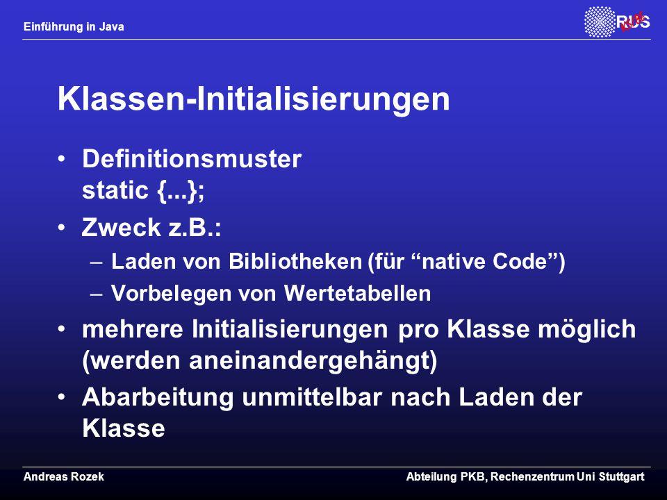 Klassen-Initialisierungen