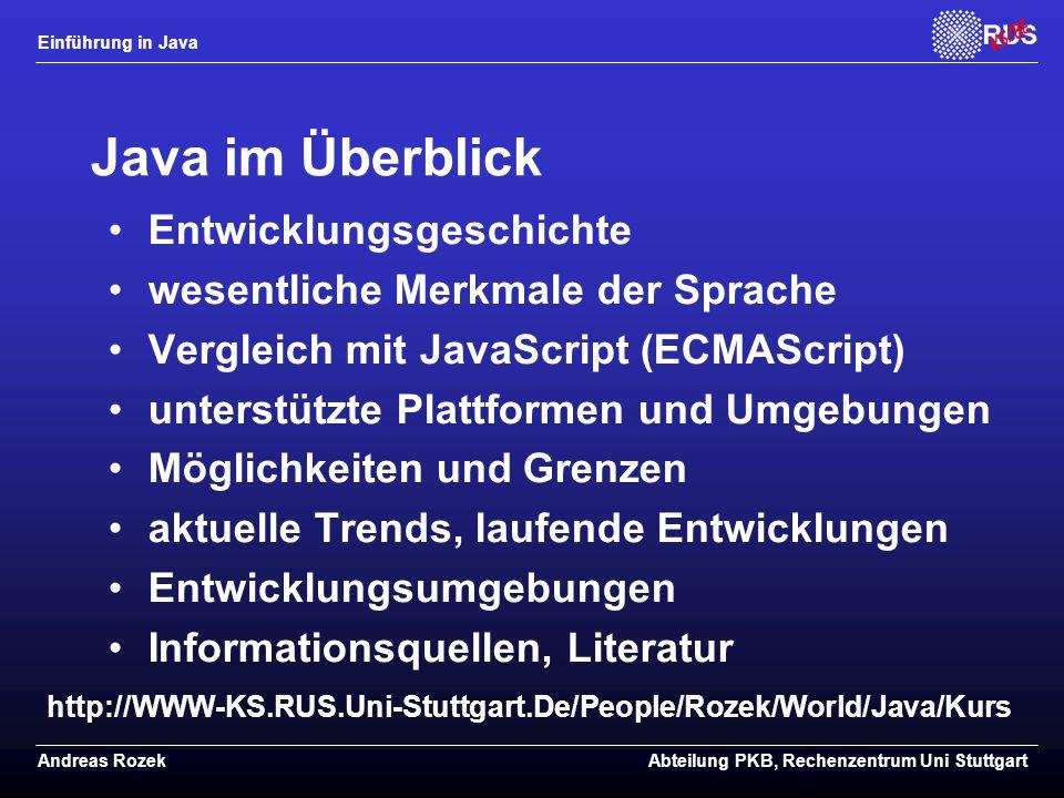 Java im Überblick Entwicklungsgeschichte