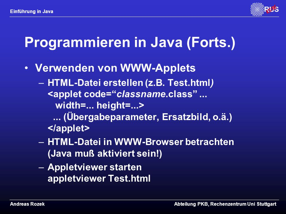 Programmieren in Java (Forts.)
