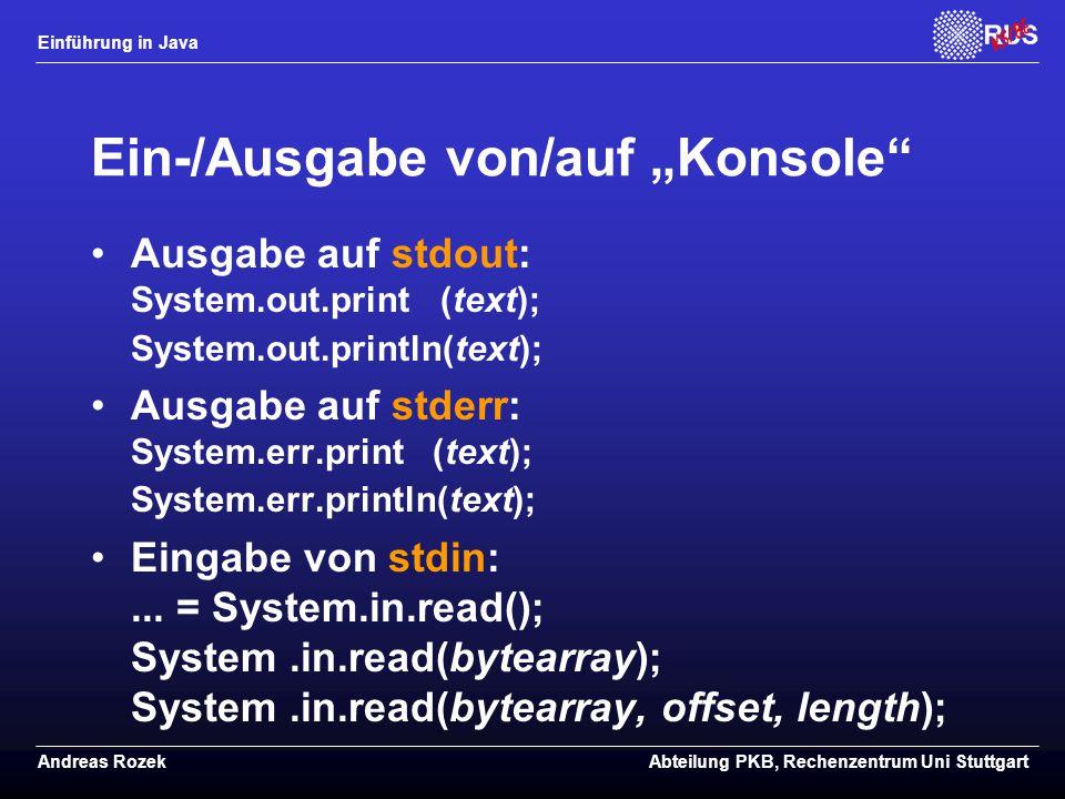 """Ein-/Ausgabe von/auf """"Konsole"""