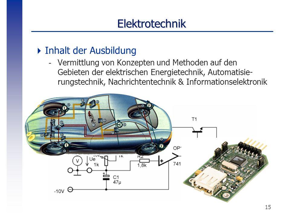 Elektrotechnik Inhalt der Ausbildung