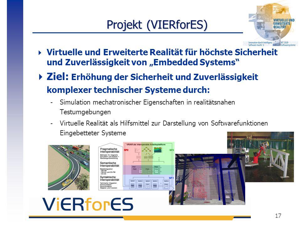 """Projekt (VIERforES) Virtuelle und Erweiterte Realität für höchste Sicherheit und Zuverlässigkeit von """"Embedded Systems"""