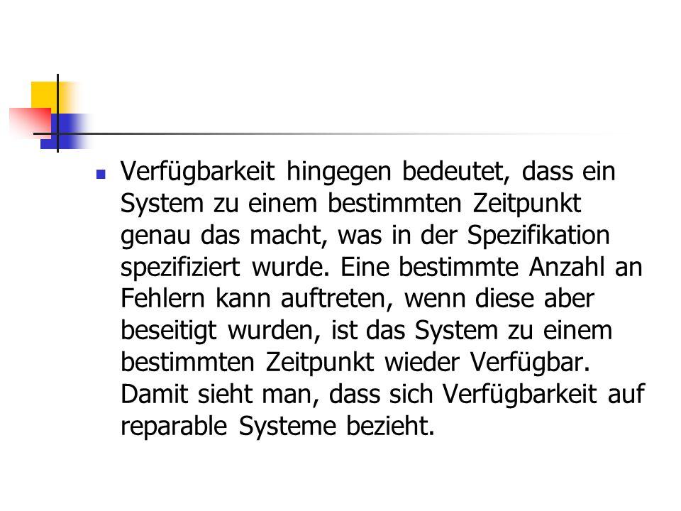 Verfügbarkeit hingegen bedeutet, dass ein System zu einem bestimmten Zeitpunkt genau das macht, was in der Spezifikation spezifiziert wurde.