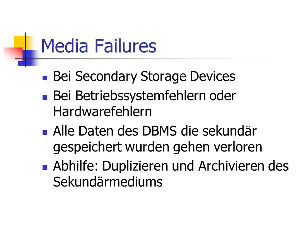 Media Failures Bei Secondary Storage Devices