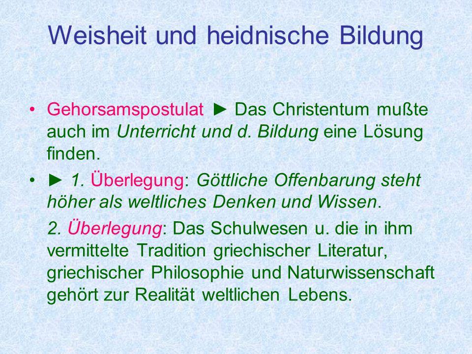 Weisheit und heidnische Bildung