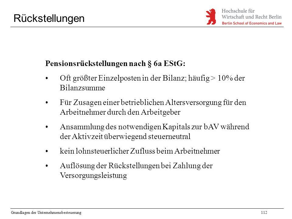 Rückstellungen Pensionsrückstellungen nach § 6a EStG: