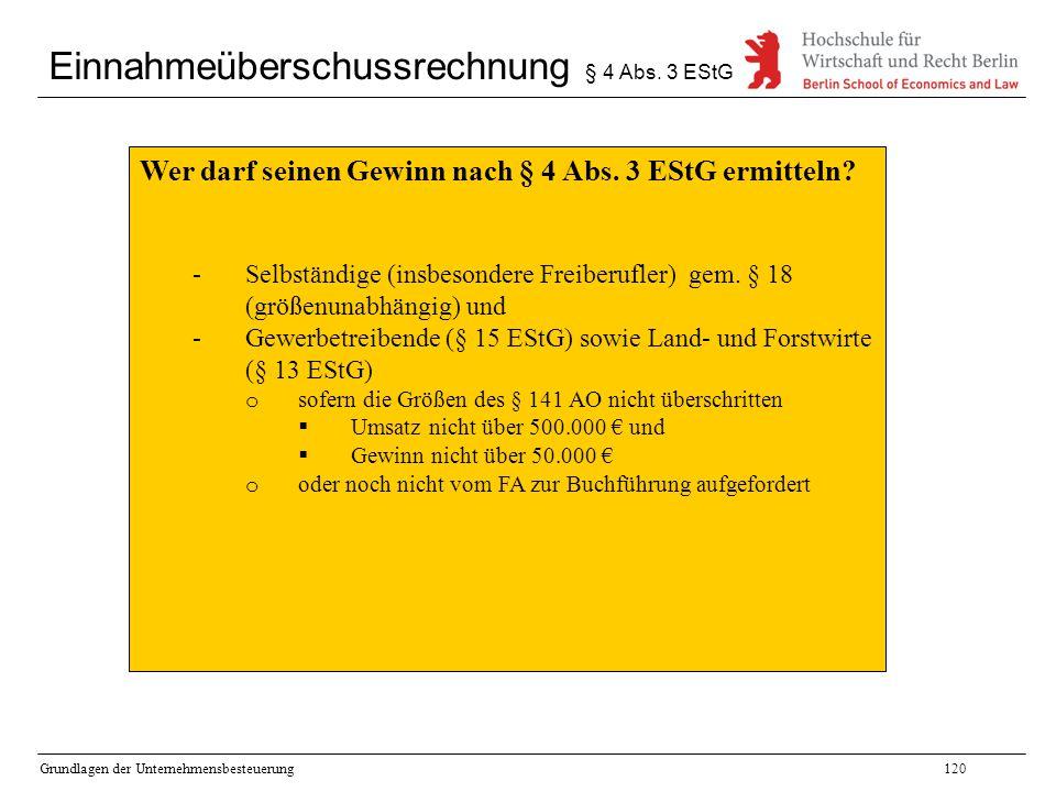 Einnahmeüberschussrechnung § 4 Abs. 3 EStG