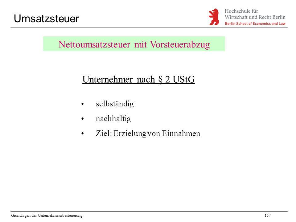 Umsatzsteuer Nettoumsatzsteuer mit Vorsteuerabzug