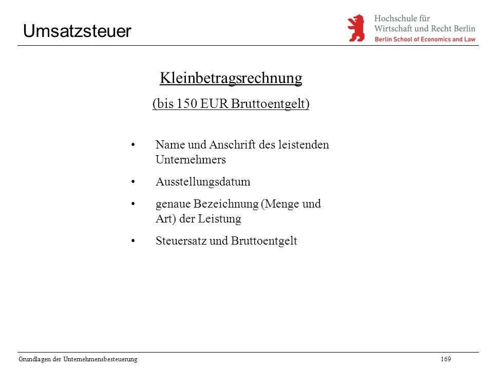 Umsatzsteuer Kleinbetragsrechnung (bis 150 EUR Bruttoentgelt)