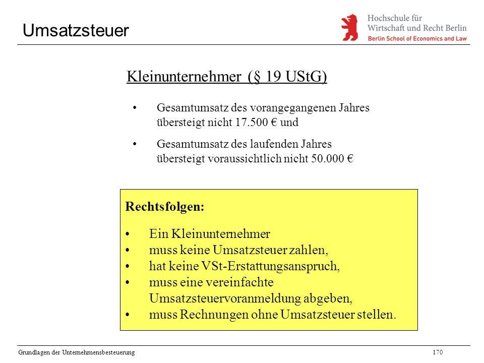 Kleinunternehmer (§ 19 UStG)