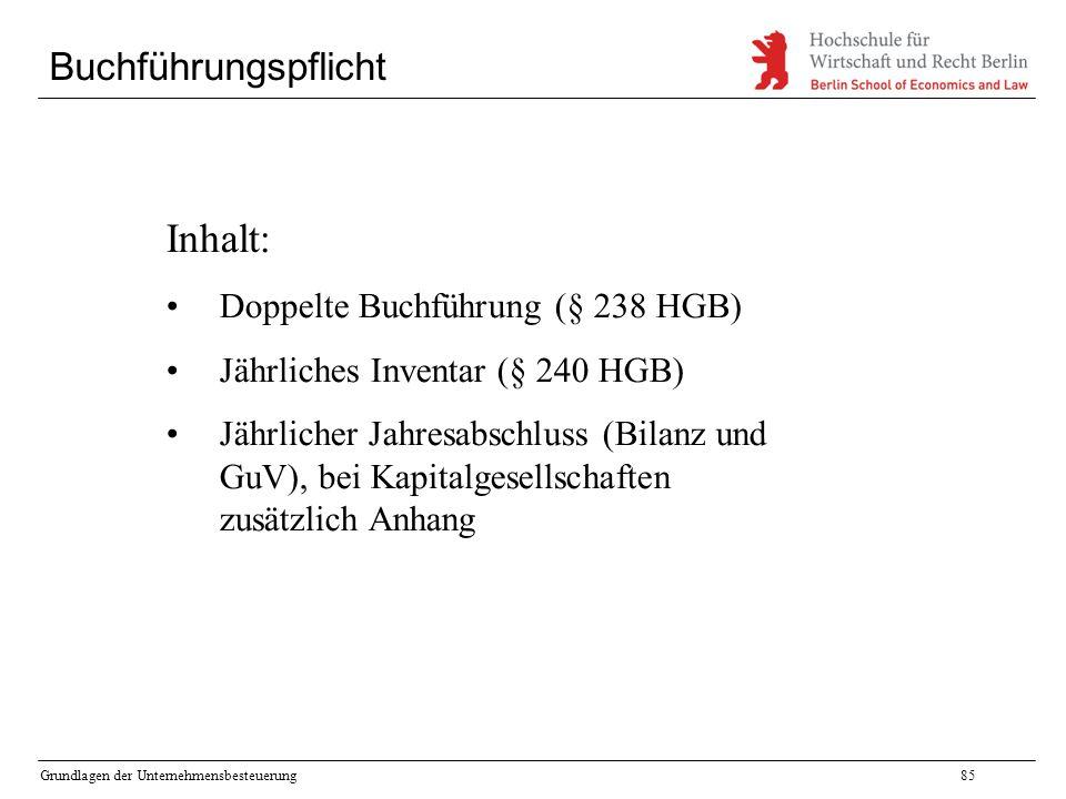 Inhalt: Buchführungspflicht Doppelte Buchführung (§ 238 HGB)