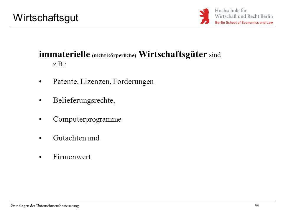 Wirtschaftsgut immaterielle (nicht körperliche) Wirtschaftsgüter sind z.B.: Patente, Lizenzen, Forderungen.