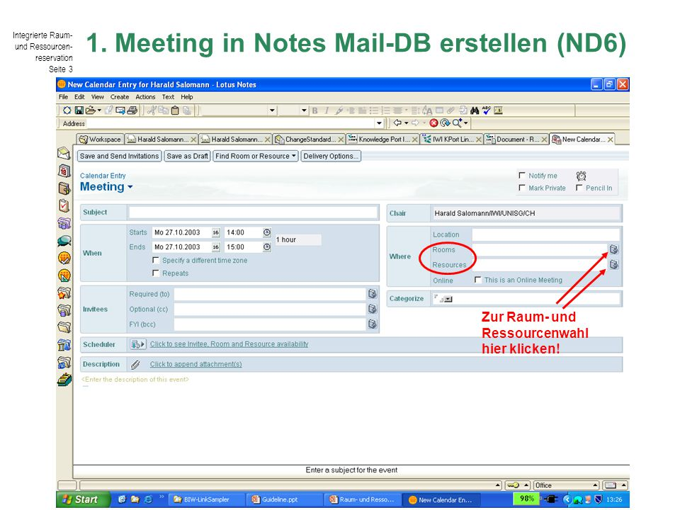 1. Meeting in Notes Mail-DB erstellen (ND6)