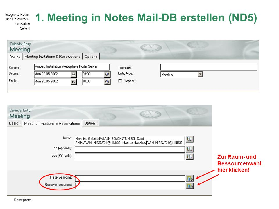 1. Meeting in Notes Mail-DB erstellen (ND5)