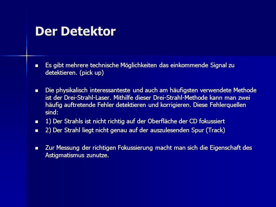 Der Detektor Es gibt mehrere technische Möglichkeiten das einkommende Signal zu detektieren. (pick up)