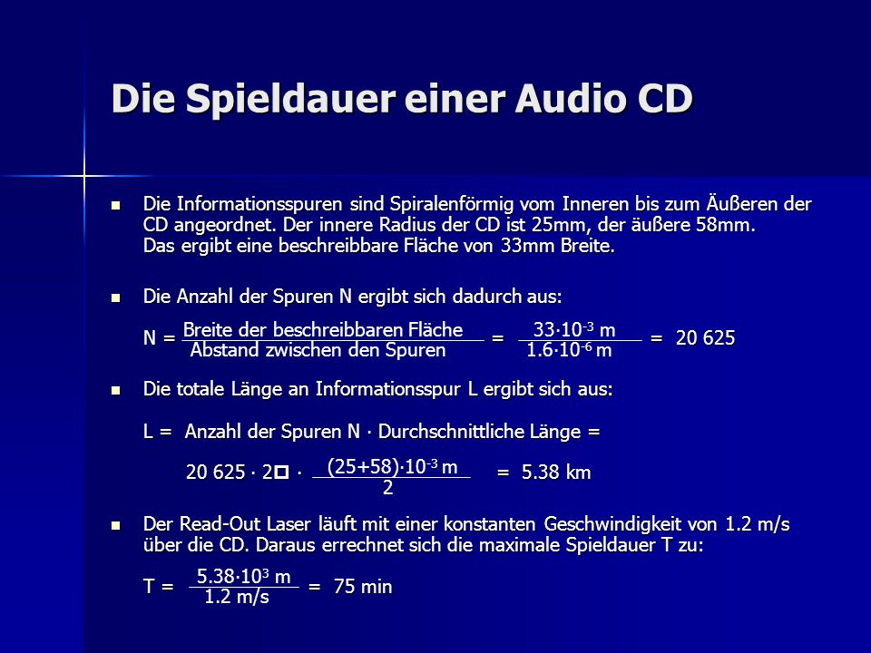 Die Spieldauer einer Audio CD
