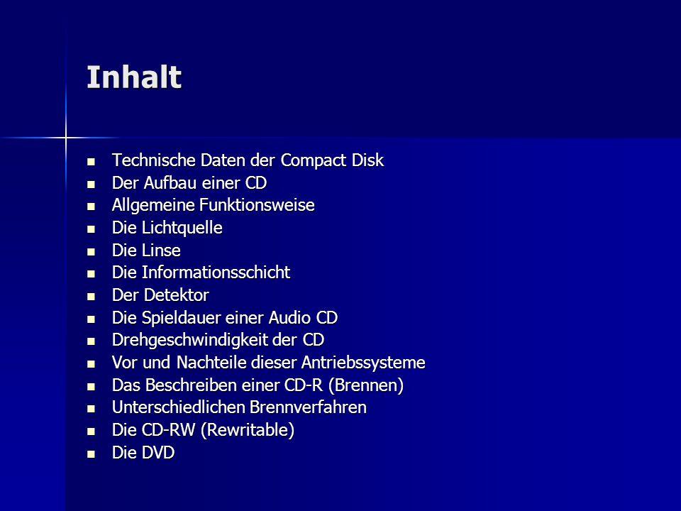 Inhalt Technische Daten der Compact Disk Der Aufbau einer CD