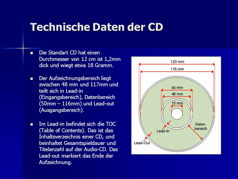 Technische Daten der CD