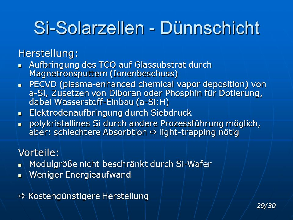 Si-Solarzellen - Dünnschicht