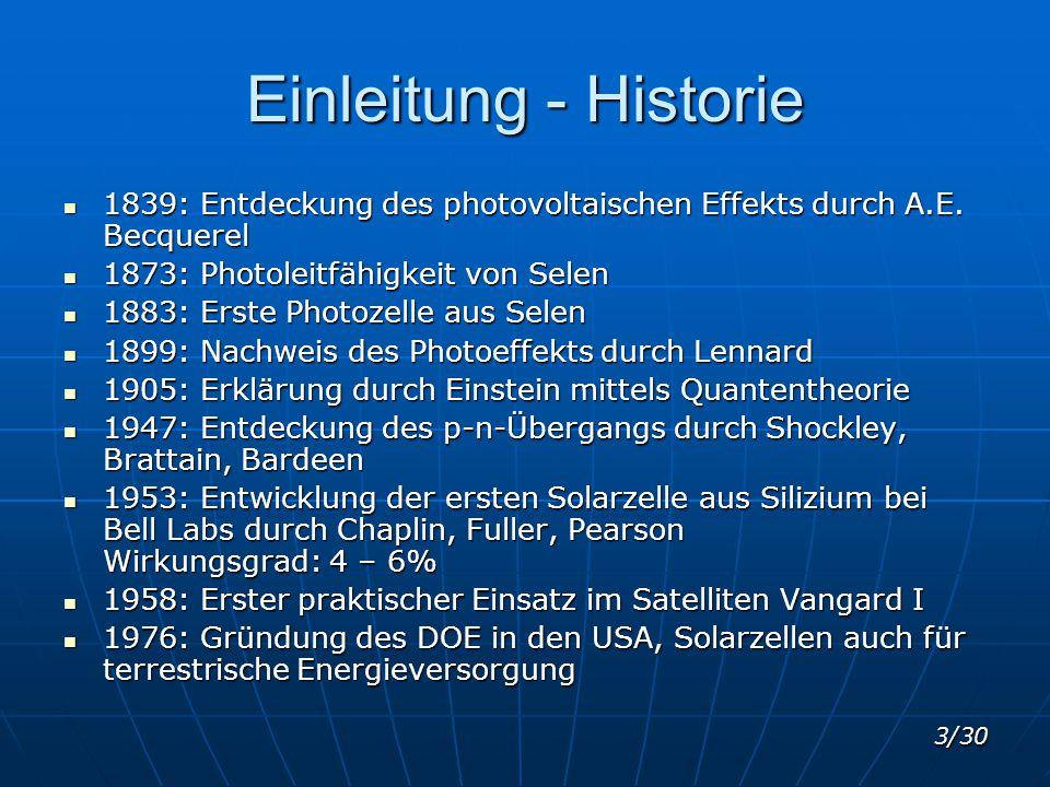 Einleitung - Historie 1839: Entdeckung des photovoltaischen Effekts durch A.E. Becquerel. 1873: Photoleitfähigkeit von Selen.