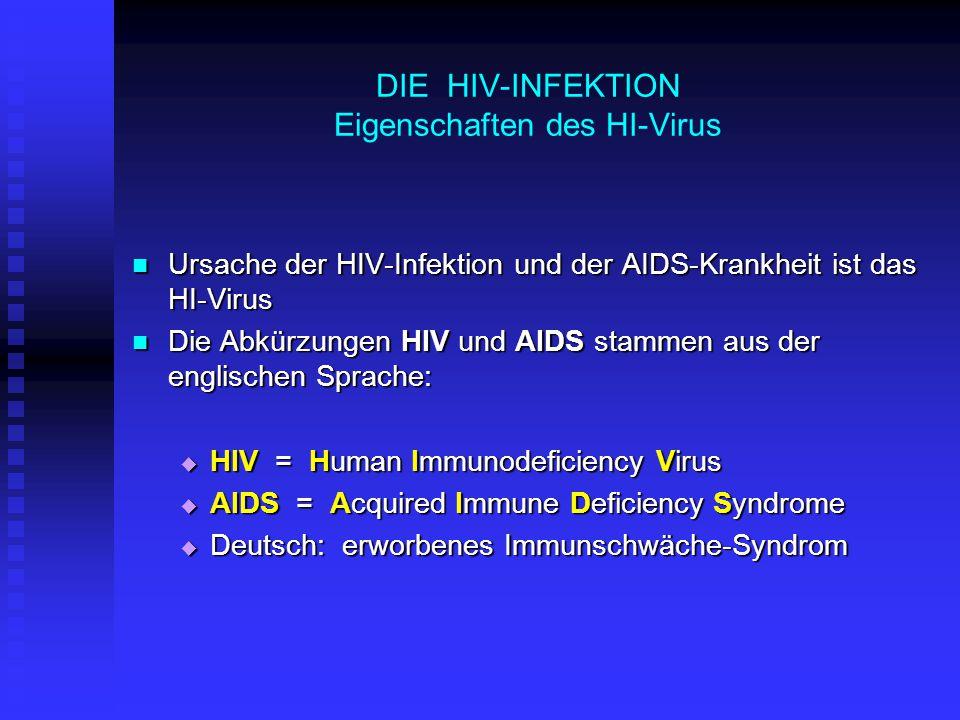 DIE HIV-INFEKTION Eigenschaften des HI-Virus