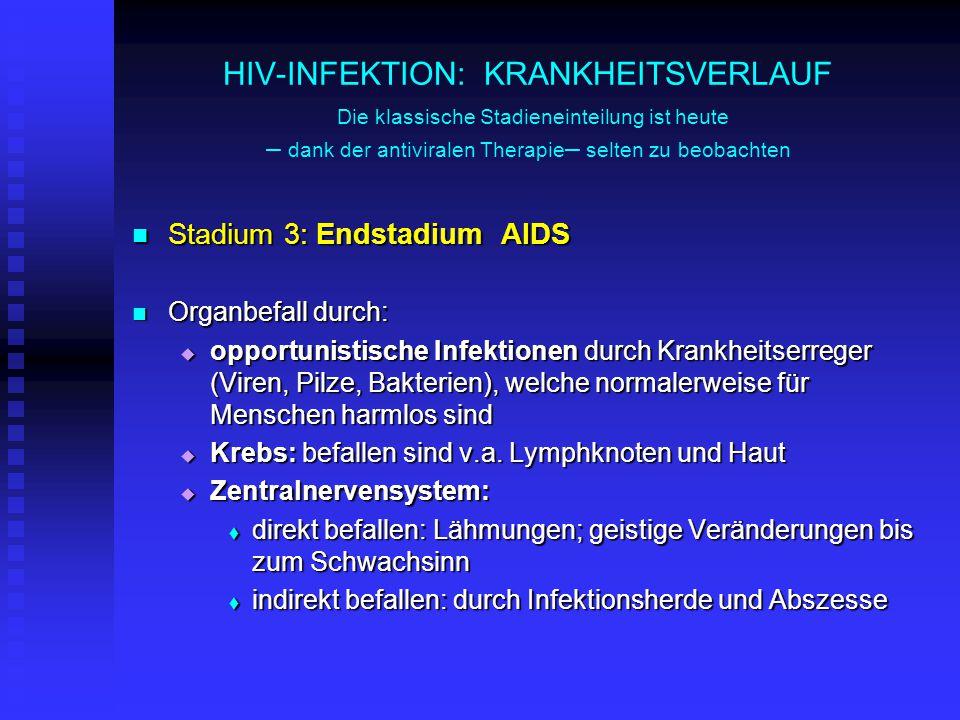 HIV-INFEKTION: KRANKHEITSVERLAUF Die klassische Stadieneinteilung ist heute – dank der antiviralen Therapie– selten zu beobachten