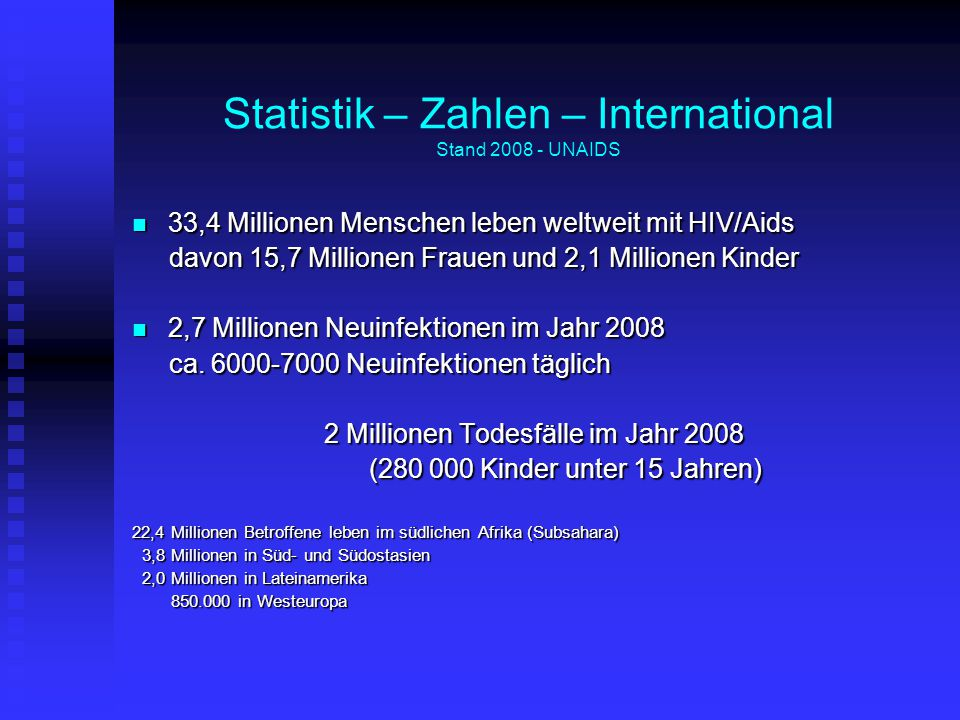 Statistik – Zahlen – International Stand 2008 - UNAIDS