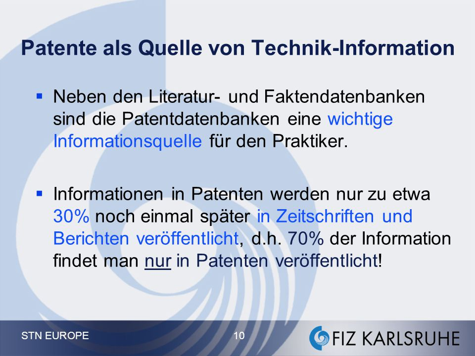 Patente als Quelle von Technik-Information