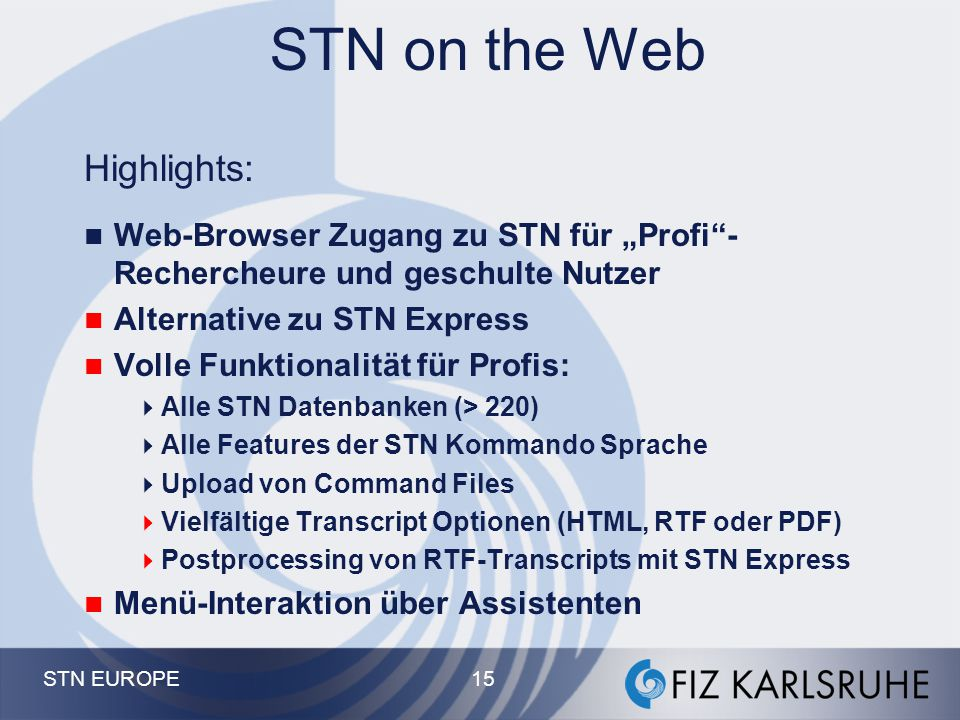 STN on the Web Highlights: