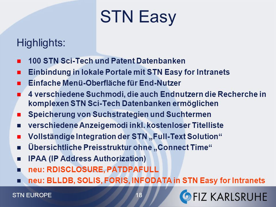 STN Easy Highlights: 100 STN Sci-Tech und Patent Datenbanken