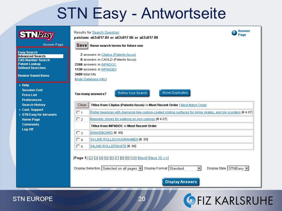 STN Easy - Antwortseite