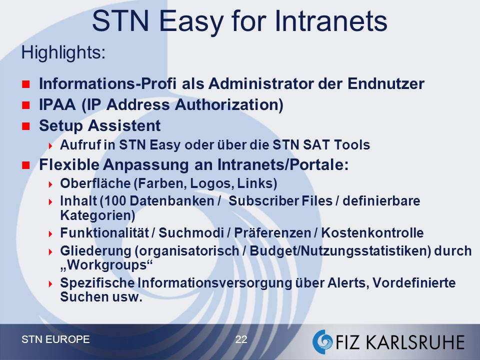 STN Easy for Intranets Highlights: