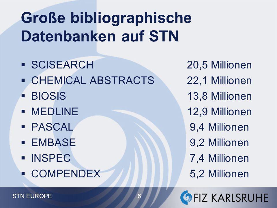 Große bibliographische Datenbanken auf STN