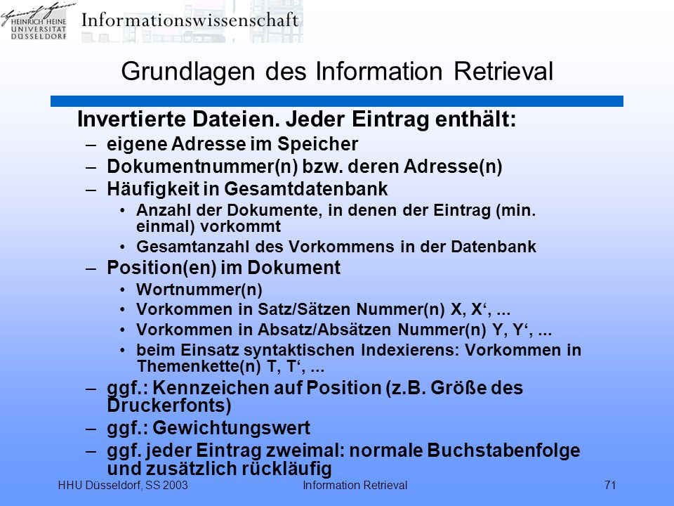 Grundlagen des Information Retrieval