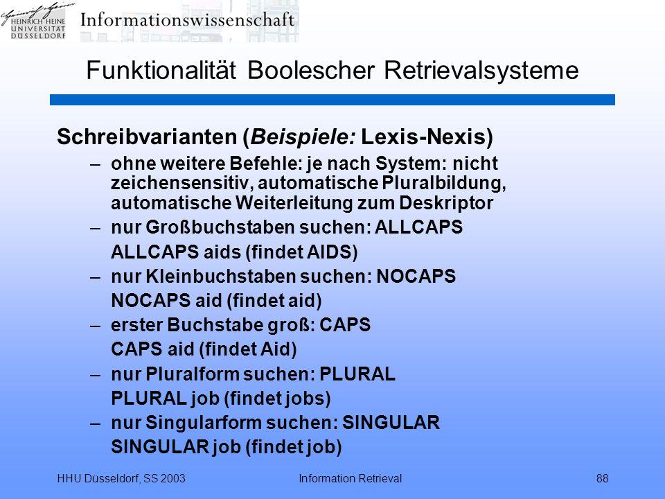 Funktionalität Boolescher Retrievalsysteme