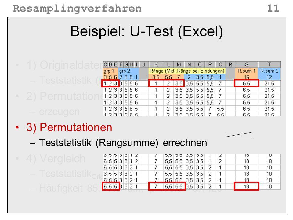 Beispiel: U-Test (Excel)
