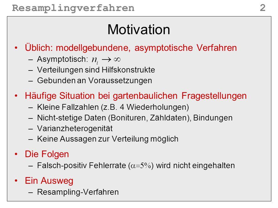 Motivation Üblich: modellgebundene, asymptotische Verfahren